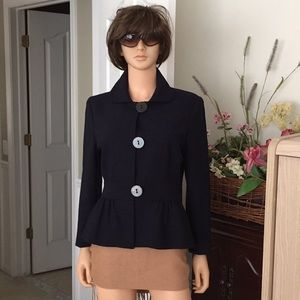 Talbots black lined wool blazer